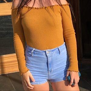 Long sleeve mustard onesie / off shoulder